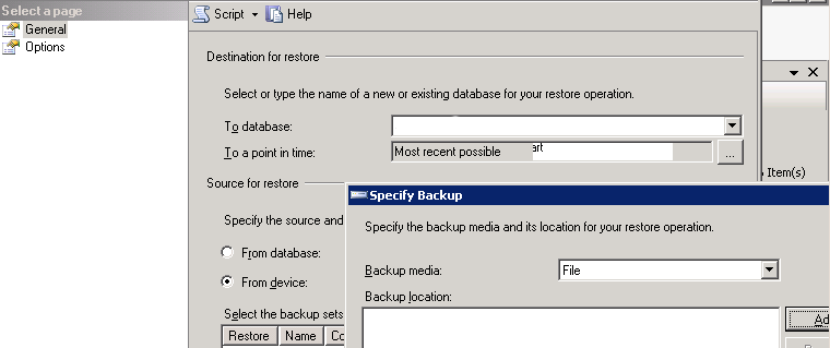 Attaching the database backup file