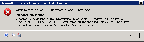 MSSQL – Two common issues while restoring a backup and it's