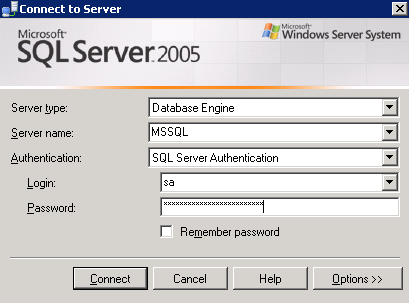 Logging in to the web server