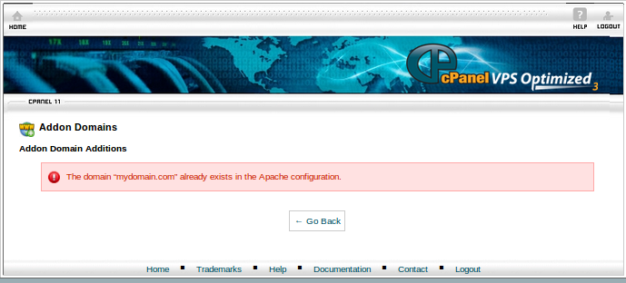 Getting error 'The domain already exists in the Apache configuration
