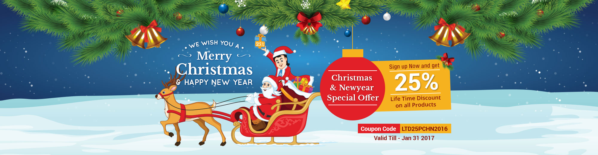 Christmas and New year Special Offer – 25% Life Time Discount on all Plans