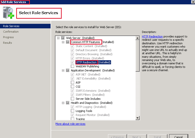 How to Enable HTTP redirection in IIS Servers
